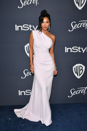 Nicole Scherzinger looked divine in a pale pink one-shoulder gown by Maticevski at the Warner Bros. and InStyle Golden Globes after-party.