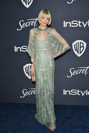 Jaime King looked ultra glam in a beaded mint-green gown and capelet combo by Cucculelli Shaheen at the Warner Bros. and InStyle Golden Globes after-party.