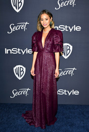 Jamie Chung looked regal in a sparkling purple gown by Honor at the Warner Bros. and InStyle Golden Globes after-party.