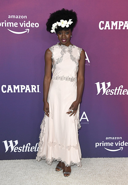 Danai Gurira looked charming in a pale pink lace-trimmed gown by Loewe at the 2019 Costume Designers Guild Awards.