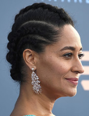 Tracee Ellis Ross paired her 'do with gorgeous diamond chandelier earrings by Hueb.