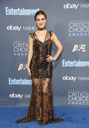 Haley Lu Richardson donned a sheer brown Opening Ceremony gown with a black mini underlay for the Critics' Choice Awards.