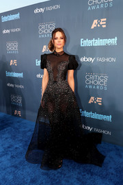 Kate Beckinsale was a total stunner in a partially sheer, beaded ball gown by Reem Acra at the Critics' Choice Awards.