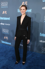Evan Rachel Wood opted for a belted black pantsuit by Altuzarra when she attended the Critics' Choice Awards.