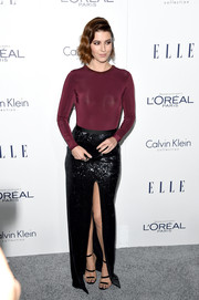 Mary Elizabeth Winstead glammed up her bodysuit with a high-slit black sequin skirt by Halston Heritage.