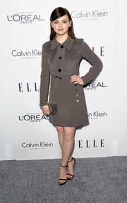 Joey King went retro in a long-sleeve gray Calvin Klein mini dress with a furry bodice at the Elle Women in Hollywood Awards.