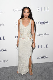 Zoe Kravitz was edgy-chic in a distressed knit top by Calvin Klein during the Elle Women in Hollywood Awards.
