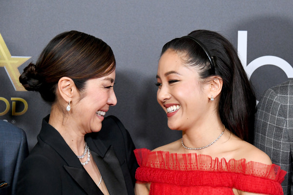 More Pics of Michelle Yeoh Pantsuit (1 of 5) - Michelle Yeoh Lookbook - StyleBistro [hair,hairstyle,skin,lady,beauty,chin,event,fashion,smile,ear,michelle yeoh,constance wu,beverly hills,california,the beverly hilton hotel,l,22nd annual hollywood film awards - arrivals,annual hollywood film awards]