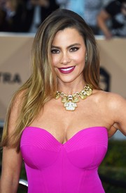 Sofia Vergara punched up her look with a statement-making gold collar necklace by David Webb.
