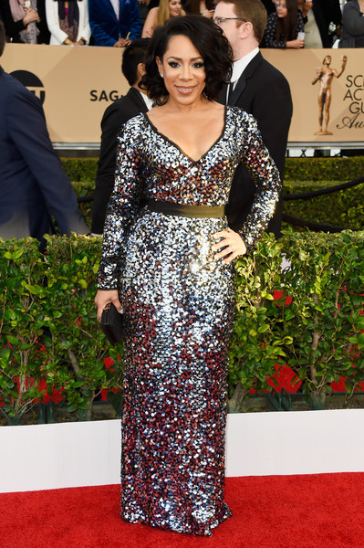 Selenis Leyva sparkled all over the SAG Awards red carpet in a fully sequined gown.