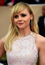 Christina Ricci wore her hair loose and straight with side-swept bangs during the SAG Awards.
