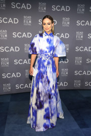 Olivia Wilde rocked an abstract-print maxi shirtdress with bell sleeves at the 2019 SCAD Savannah Film Festival.