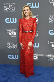 Skyler Samuels was a classic beauty in a long-sleeve red lace gown by Giamba at the 2018 Critics' Choice Awards.
