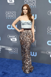 Madeline Brewer went full-on glam in a two-tone Elizabeth Kennedy gown with a corseted bodice and a paillette skirt at the 2018 Critics' Choice Awards.