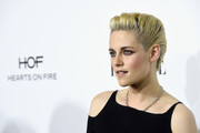 Kristen Stewart wore her short hair slicked back at the Elle Women in Hollywood Awards.