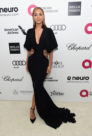 Nicole Scherzinger worked a glamorous black Michael Costello cutout gown during Elton John's Oscar-viewing party.