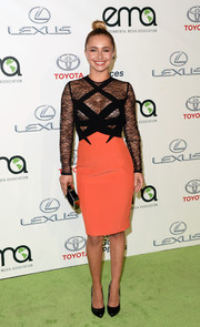 Hayden Panettiere went for sexy sophistication at the Environmental Media Awards in a Georges Hobeika cocktail dress featuring a see-through black lace bodice and a coral pencil skirt.