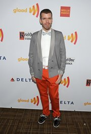 Perez Hilton's ensemble at the GLAAD Media Awards came alive with a pair of bright orange jeans.