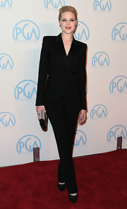 Evan Rachel Wood was sharply dressed at the PGA in a black suit and matching black pumps.