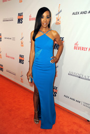 Shaun Robinson made a glam appearance at the Race to Erase MS Gala in an electric-blue halter gown.