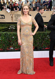 Emily Blunt was bohemian-chic in a beaded nude gown by Roberto Cavalli at the SAG Awards.