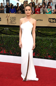 Brie Larson went modern in an asymmetrical white halter gown by Jason Wu at the SAG Awards.