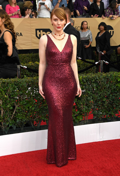 Bryce Dallas Howard WOWED in a second-skin sequin gown by Dress the Population at the SAG Awards.