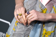 Lucy Boynton showed off a dazzling trio of gemstone rings at the 2019 Critics' Choice Awards.