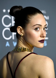 Emmy Rossum went edgy with these hair knots at the 2019 Critics' Choice Awards.