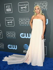 Lady Gaga kept it minimal yet elegant in a strapless blush Calvin Klein By Appointment gown at the 2019 Critics' Choice Awards.