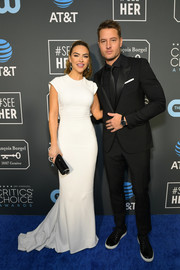 Chrishell Stause was minimalist-chic in a white fishtail gown by Zac Posen at the 2019 Critics' Choice Awards.