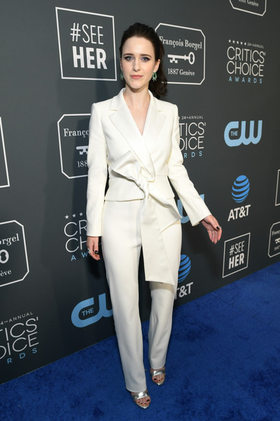 Rachel Brosnahan was androgynous-chic in a sculpted white pantsuit by Carolina Herrera at the 2019 Critics' Choice Awards.