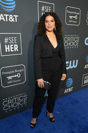 America Ferrera completed her all-black look with a pair of Jimmy Choo platforms.