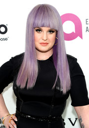 Kelly Osbourne wore her signature lavender locks sleek straight with blunt bangs at the Elton John AIDS Foundation Oscar viewing party.
