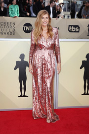 Connie Britton went for high shine in a fully sequined pink gown by Elisabetta Franchi at the 2018 SAG Awards.