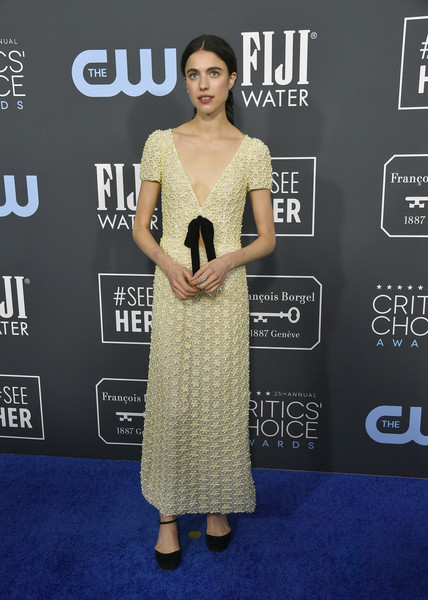 Margaret Qualley kept it minimal in a beaded Miu Miu dress with a bow accent at the 2020 Critics' Choice Awards.