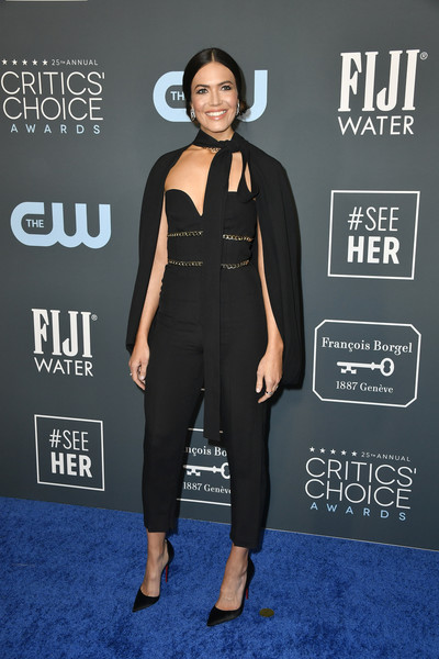 Mandy Moore kept it fun in a strapless black jumpsuit by Elie Saab at the 2020 Critics' Choice Awards.