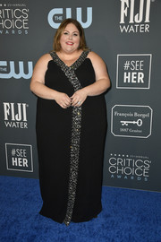 Chrissy Metz donned a black 11 Honore gown with silver beading for the 2020 Critics' Choice Awards.
