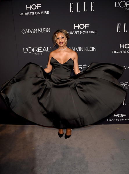 Laverne Cox showed off a glamorous strapless black gown by Toni Maticevski at the 2018 Elle Women in Hollywood celebration.