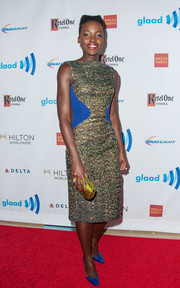 Lupita Nyong'o looked like a jewel at the GLAAD Media Awards in an iridescent green Antonio Berardi dress with electric-blue waist accents.
