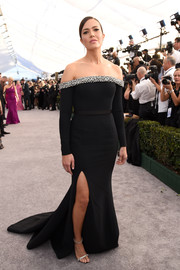 Mandy Moore was goth-glam in a black off-the-shoulder gown with a bedazzled neckline and a flowing train at the 2019 SAG Awards.