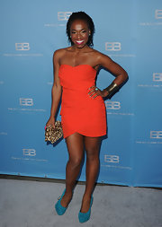 Kritolyn Lloyd wore this tiered orange strapless dress to CBS' 'The Bold and the Beautiful' party.