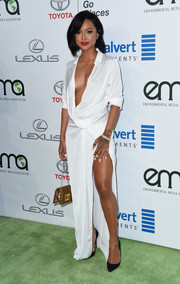 Karrueche Tran looked white-hot in a plunging, high-slit maxi shirtdress by Meshki at the EMA Awards.