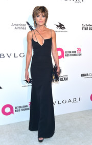Lisa Rinna was svelte and sexy in a black gown with a strappy neckline at the Elton John AIDS Foundation Oscar-viewing party.