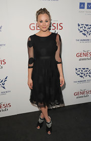 Kaley Cuoco was a doll at the Genesis Awards in this black polka-dot dress.