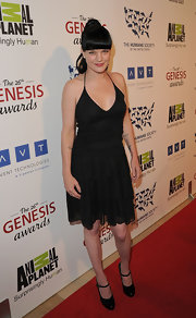 Pauley Perrette showed off her goth style in this tiered LBD.