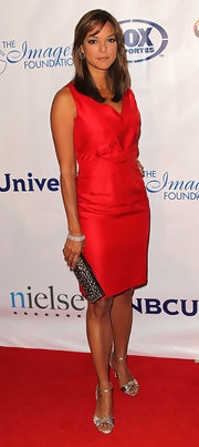 Eva la Rue exuded simple elegance in a red cocktail dress at the Imagen Awards.