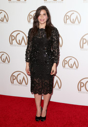 America Ferrera wore a stunning black lace dress with floral embellishments to the 26th Annual Producers Guild Of America Awards.