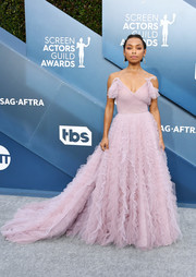 Logan Browning went the frilly route in a dusty-pink Jason Wu gown with a voluminous ruffle skirt for the 2020 SAG Awards.