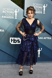 Helena Bonham Carter opted for an ankle-length blue sequined dress with a black belt and sleeves when she attended the 2020 SAG Awards.